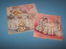 Vintage baby greeting cards. A card of character. Rust Craft. 1953. Pink, lace.