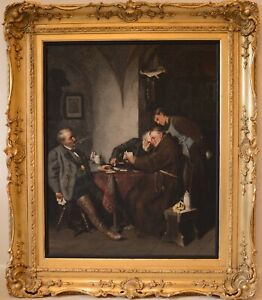 Fine Large Antique 19th Century The Card Players Interior Oil Painting ALDRIDGE