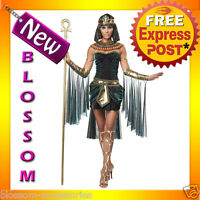 C805 Egyptian Goddess Cleopatra Black Fancy Dress Party Halloween Costume Outfit