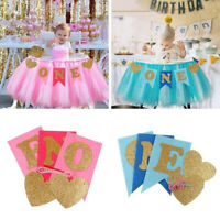 Glitter one Banner Girl Boy 1st Birthday High Chair Baby Shower Party Decor New~