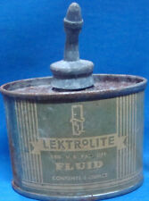 Old vintage small size Tin LEKTROLITE Fluid bottle from USA 1930