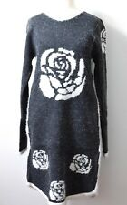 Ladies Womens Tinsel Knitted Grey Dress Crew Neck Jumper Long Sleeve Stretch