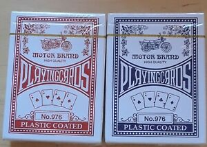 2 Decks Playing Cards Motor Brand High Quality Plastic Coated Assorted Color 976