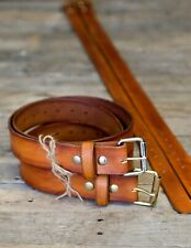 Saddle Tan Leather Belt Handmade from Full Grain Leather Made in USA