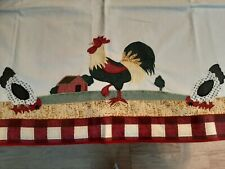 Two Country Farmhouse  Rooster,  Chicken Valance,  Curtains  Each 23 X 30