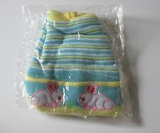 NEW Baby toddler blue and yellow beanie rabbit hat pom poms christmas winter
