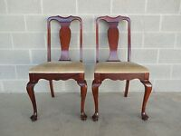 Statesville & Ross Chair Co. Pair Mahogany Queen Anne Leg Side Chairs