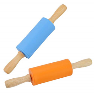 Mini Rolling Pin, 2 Pack Kids Size Wooden Handle Rolling Pin Non-Stick Silicone