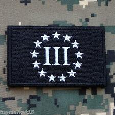 3% III THREE PERCENT USA ARMY TACITICAL MORALE SWAT DARK EMBROIDERED HOOK PATCH