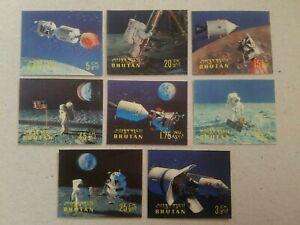 Bhutan 3-D Postage Stamps U.S. Space Program & Moon Landing , MNH Set of 8