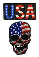 "USA Flag Skull USA Name Patriotic Patch [2PC -""Velcro Brand"" MTU1]"