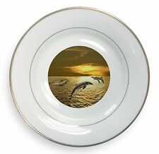 Gold Sea Sunset Dolphins Gold Rim Plate in Gift Box Christmas Present, AF-D4PL