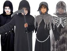Niños GRIM REAPER Disfraz Traje Elegante Halloween Traje Fantasma Miedo Bata