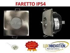 Faretto IP55 Quadrato per cartongesso acciaio satinato faretto per bagno