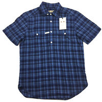 RM Williams Mens Gatton Short Sleeve Shirt Linen Blend Blue Plaid Size M NEW