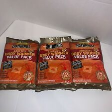 Lot Of 3 Hothands Adhesive Body Warmers - Up to 12 Hours of Heat - (3 x 8pk)