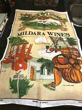 Mildara Wines-Merbein,Victoria-Retro New Pure Linen Tea Towel-Ross-Handprinted.