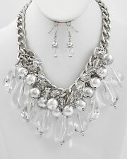 Clear Faceted Lucite Drops Silver Tone Bead Chunky Necklace Earring Set