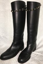 Valentino Boots Knee-High Black Leather Rock Stud Strap Size 39 1/2