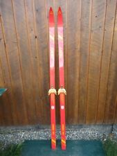 """VINTAGE Wooden 69"""" Skis Has RED  and YELLOW Finish"""