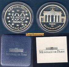 Coffret BE - 100 Francs Argent 1993 Porte Brandebourg 50000 ex Boite Certificat