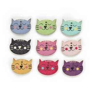 30pcs Cat Shape Wood Buttons Sewing Scrapbooking Cloth Home Crafts Decor 29mm