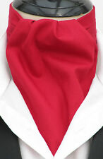 Mens Plain Rich Red 100% Quality Cotton Ascot Cravat & Pocket Square - UK Made