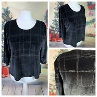 Ladies Black Top Size 20 FOSBY Velvet 3/4 Sleeve Stretchy Shimmer Detail Party