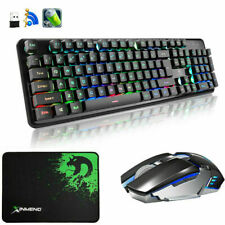 UK 2.4G Wireless Rechargeable Rainbow LED Gaming Keyboard + Mouse + Mousepad 620