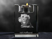 Irish Wolfhound, crystal candlestick with dog, souvenir, Crystal Animals Ca