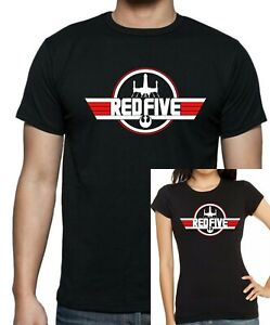 STAR WARS Rebel RED 5 - TOP GUN style T-Shirt. Unisex/Fitted Tee Printed Cotton