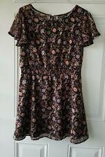 Forever 21 Black Layered Floral Flutter Sleeve Dress, Size M