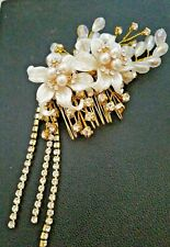 White Hair Comb Decoration Beads Rhinestone Wedding Holiday