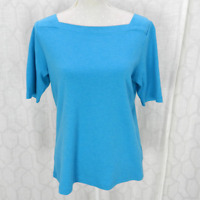 L.L. Bean Casual Knit Top Sz M Blue Squared Boat Neck Tee