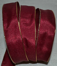 "Wired Ribbon~Christmas Burgundy~7/8""~Mini Grosgrain~Gold Edge~Wreath~Holiday~Bow"