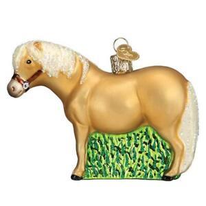 BROWN SHETLAND PONY OLD WORLD CHRISTMAS GLASS HORSE FARM ORNAMENT NWT 12557