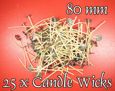 25 x CANDLE Cotton WICKS 80mm PRE WAXED with SUSTAINERS,Stoppini per Candele