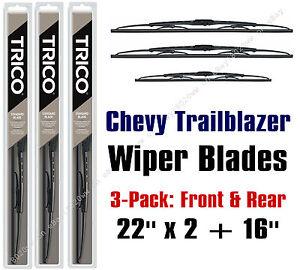 Chevrolet Chevy Trailblazer 2002-2006 Wiper Blades 3-Pk Front/Rear 30221x2/30160
