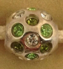 Authentic Chamilia 925 Silver *Retired* Green Disco Ball Bead Charm Jb35d New