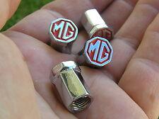 MG METAL TYRE VALVE CAPS SET of 4 Badge RED Emblems *NEW UNIQUE* MGA MGB MGF