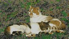 "Cats Sitting Counted Cross Stitch Kit 16.5"" x 9.5"" 42cm x 24cm C2333"