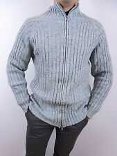 STUDIO Italian Designer Men's Vtg Stripe Winter Knit Blue Zip Cardigan sz M BI44