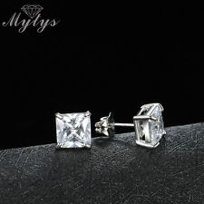 Square White clear crystal Topaz white gold filled stud earrings 6mm