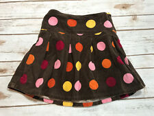 Gymboree Girls 5 Purrfect Autumn Polka Dot Corduroy Skirt Brown Pleated Fall
