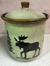Home Studio Woodland Moose Big Canister or Cookie Jar Rustic Style Pine Tree