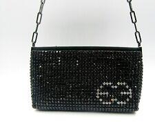 Escada Vintage Swarovski Crystal Incrusted Clutch Purse Bag Black Small Evening