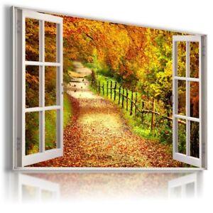 PATH GOLDEN AUTUMN PARK 3D Window Canvas Wall Art Picture  W286 MATAGA