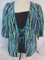 Bob Mackie Wearable Art Womens Small Multi-Color 100% Silk Blouse Shirt CB16Q