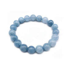 4/6/8/10/12MM Natural Blue Aquamarine Gemstone Beads Stretchy Bangle Bracelet
