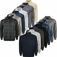 Mens Polo Winter Sweatshirt Jumper Buttoned Long Sleeve Pullover Top Zip Pocket